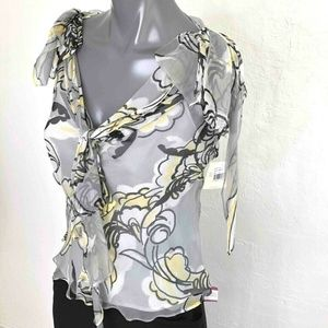 Milly Blouse Gray Silk Floral Knot Sleeveless Top